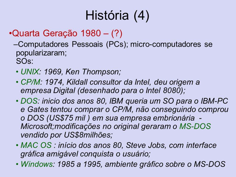 História (4) Quarta Geração 1980 – (?) –Computadores Pessoais (PCs); micro-computadores se popularizaram; SOs: UNIX: 1969, Ken Thompson; CP/M: 1974, K