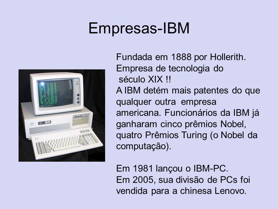 Empresas-IBM Fundada em 1888 por Hollerith. Empresa de tecnologia do século XIX !! A IBM detém mais patentes do que qualquer outra empresa americana.