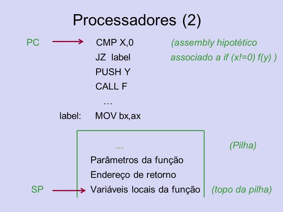 Processadores (2) PC CMP X,0 (assembly hipotético JZ label associado a if (x!=0) f(y) ) PUSH Y CALL F … label: MOV bx,ax...(Pilha) Parâmetros da funçã