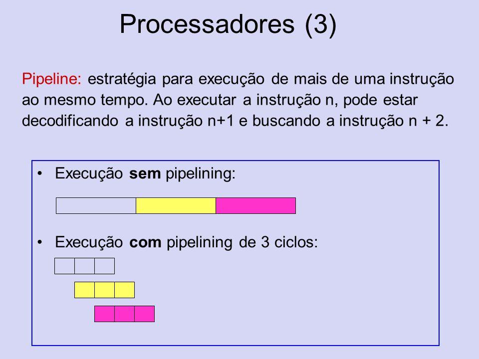 Processadores (3) Execução sem pipelining: Execução com pipelining de 3 ciclos: Pipeline: estratégia para execução de mais de uma instrução ao mesmo t