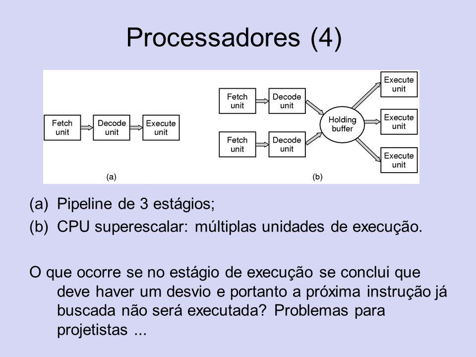 Processadores (4) (a)Pipeline de 3 estágios; (b)CPU superescalar: múltiplas unidades de execução. O que ocorre se no estágio de execução se conclui qu