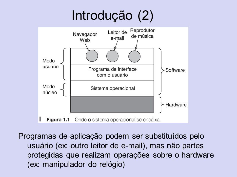 Introdução (3) Modo núcleo: tem acesso completo ao hardware e pode executar qualquer instrução da máquina; Modo usuário: um subconjunto das instruçpões da máquina está disponível.