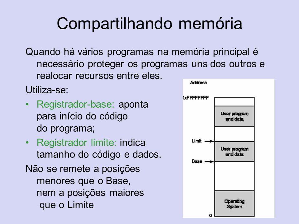 Compartilhando memória Quando há vários programas na memória principal é necessário proteger os programas uns dos outros e realocar recursos entre ele