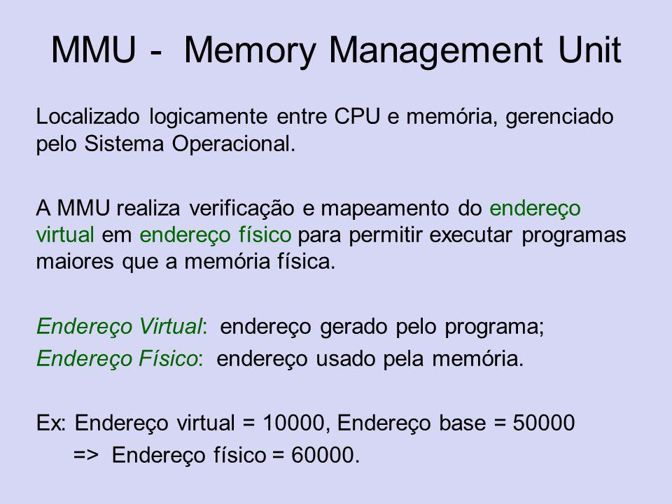 MMU - Memory Management Unit Localizado logicamente entre CPU e memória, gerenciado pelo Sistema Operacional. A MMU realiza verificação e mapeamento d
