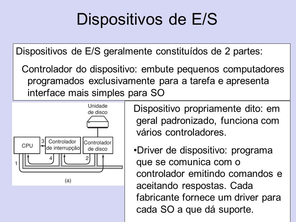 Dispositivos de E/S (b) Dispositivos de E/S geralmente constituídos de 2 partes: Controlador do dispositivo: embute pequenos computadores programados