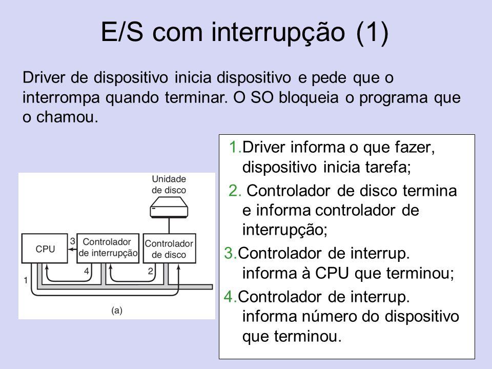 E/S com interrupção (1) (b) 1.Driver informa o que fazer, dispositivo inicia tarefa; 2. Controlador de disco termina e informa controlador de interrup