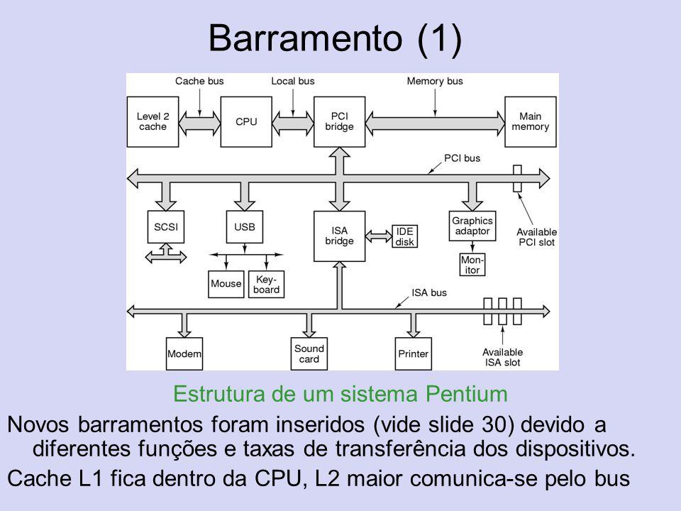 Barramento (1) Estrutura de um sistema Pentium Novos barramentos foram inseridos (vide slide 30) devido a diferentes funções e taxas de transferência