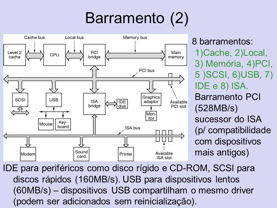 Barramento (2) 8 barramentos: 1)Cache, 2)Local, 3) Memória, 4)PCI, 5 )SCSI, 6)USB, 7) IDE e 8) ISA. Barramento PCI (528MB/s) sucessor do ISA (p/ compa