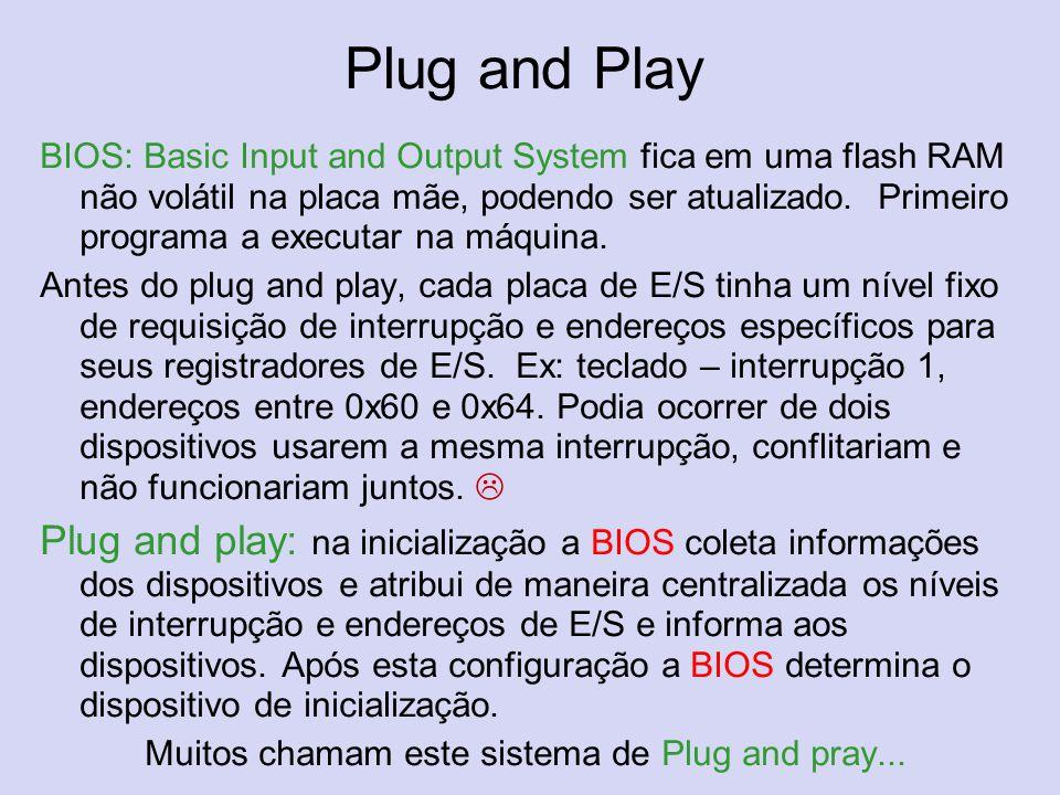 Plug and Play BIOS: Basic Input and Output System fica em uma flash RAM não volátil na placa mãe, podendo ser atualizado. Primeiro programa a executar