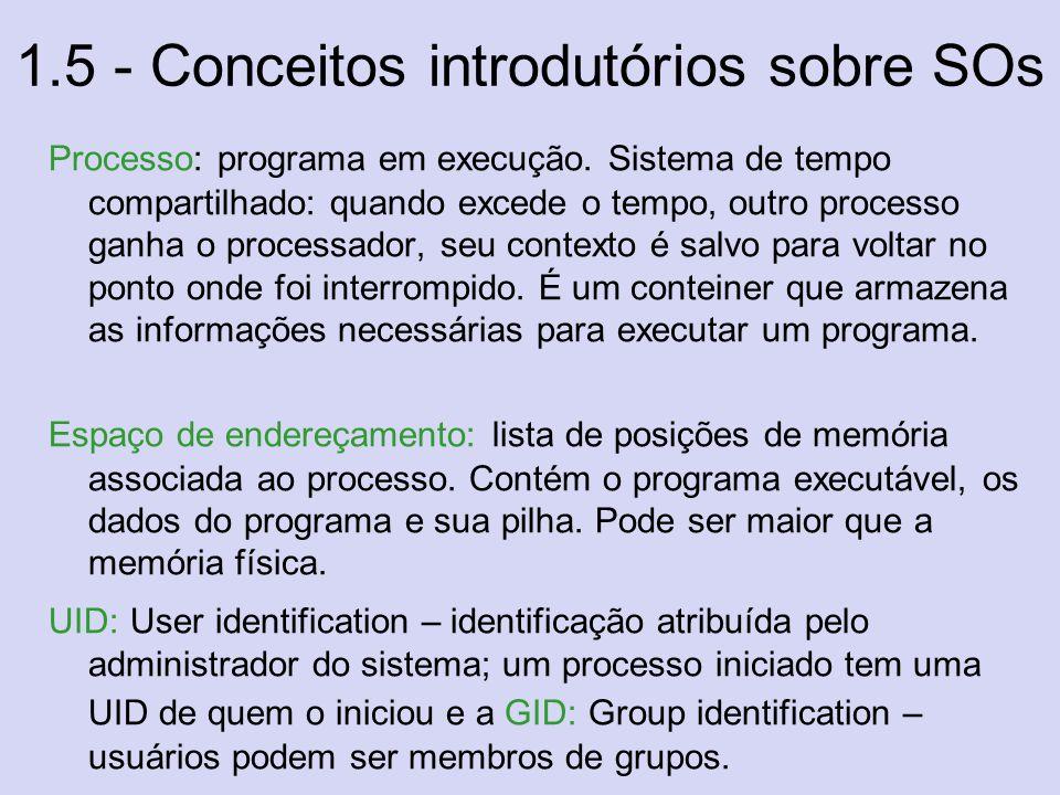 1.5 - Conceitos introdutórios sobre SOs Processo: programa em execução. Sistema de tempo compartilhado: quando excede o tempo, outro processo ganha o