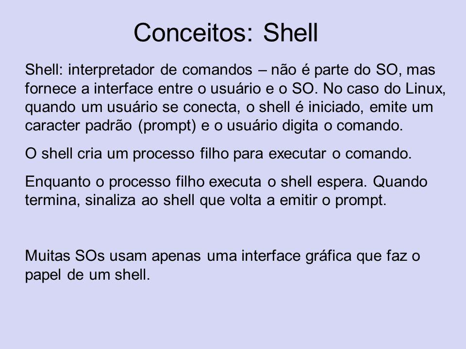 Conceitos: Shell Shell: interpretador de comandos – não é parte do SO, mas fornece a interface entre o usuário e o SO. No caso do Linux, quando um usu