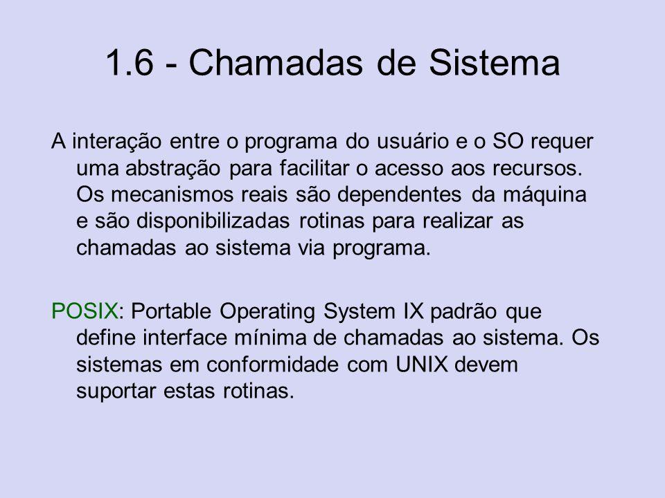 1.6 - Chamadas de Sistema A interação entre o programa do usuário e o SO requer uma abstração para facilitar o acesso aos recursos. Os mecanismos reai