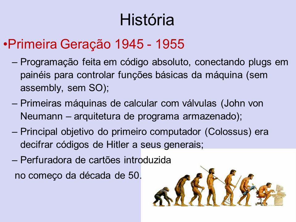 História Primeira Geração 1945 - 1955 –Programação feita em código absoluto, conectando plugs em painéis para controlar funções básicas da máquina (se