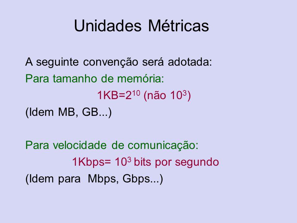 Unidades Métricas A seguinte convenção será adotada: Para tamanho de memória: 1KB=2 10 (não 10 3 ) (Idem MB, GB...) Para velocidade de comunicação: 1K