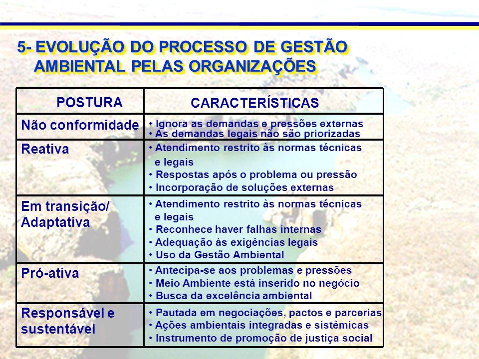 5- EVOLUÇÃO DO PROCESSO DE GESTÃO AMBIENTAL PELAS ORGANIZAÇÕES AMBIENTAL PELAS ORGANIZAÇÕES 5- EVOLUÇÃO DO PROCESSO DE GESTÃO AMBIENTAL PELAS ORGANIZAÇÕES AMBIENTAL PELAS ORGANIZAÇÕES POSTURA Não conformidade Reativa Em transição/ Adaptativa Pró-ativa Responsável e sustentável Ignora as demandas e pressões externas As demandas legais não são priorizadas Atendimento restrito às normas técnicas e legais Respostas após o problema ou pressão Incorporação de soluções externas Atendimento restrito às normas técnicas e legais Reconhece haver falhas internas Adequação às exigências legais Uso da Gestão Ambiental Antecipa-se aos problemas e pressões Meio Ambiente está inserido no negócio Busca da excelência ambiental Pautada em negociações, pactos e parcerias Ações ambientais integradas e sistêmicas Instrumento de promoção de justiça social CARACTERÍSTICAS