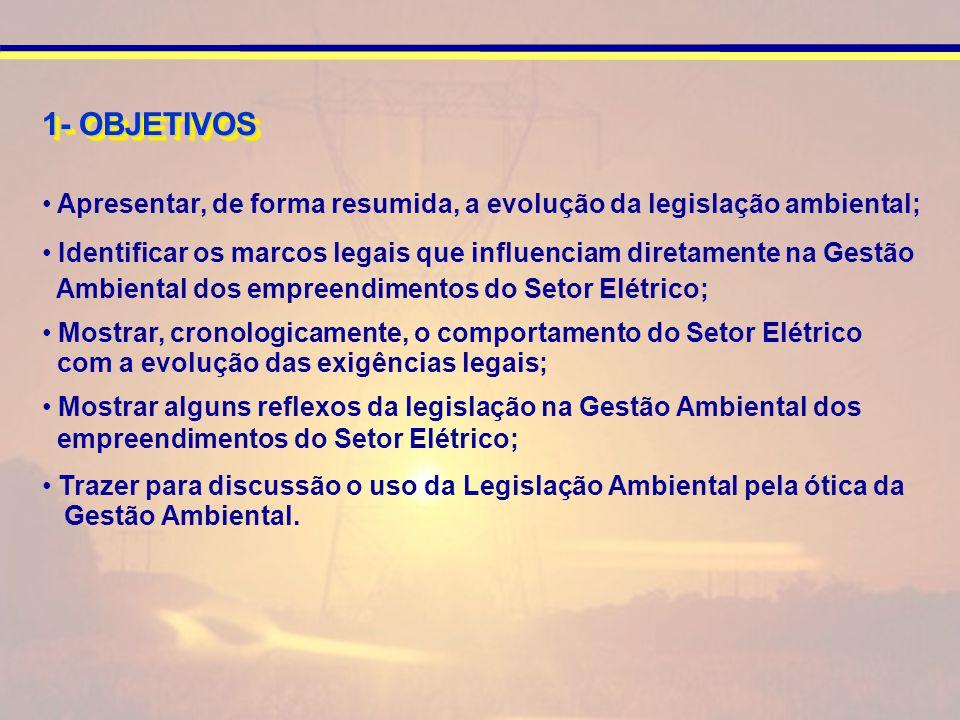 Apresentar, de forma resumida, a evolução da legislação ambiental; Identificar os marcos legais que influenciam diretamente na Gestão Ambiental dos empreendimentos do Setor Elétrico; Mostrar, cronologicamente, o comportamento do Setor Elétrico com a evolução das exigências legais; Mostrar alguns reflexos da legislação na Gestão Ambiental dos empreendimentos do Setor Elétrico; Trazer para discussão o uso da Legislação Ambiental pela ótica da Gestão Ambiental.