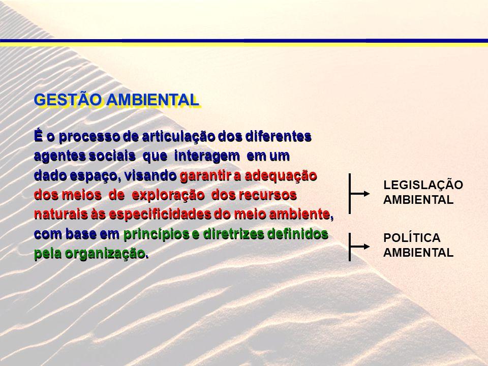 GESTÃO AMBIENTAL É o processo de articulação dos diferentes agentes sociais que interagem em um dado espaço, visando garantir a adequação dos meios de exploração dos recursos naturais às especificidades do meio ambiente, com base em princípios e diretrizes definidos pela organização.