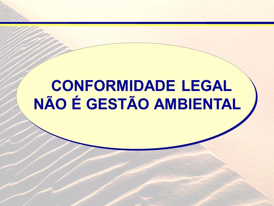CONFORMIDADE LEGAL PONTO DE PARTIDA PARA IMPLANTAÇÃO DE QUALQUER PROCESSO DE GESTÃO AMBIENTAL PONTO DE PARTIDA PARA IMPLANTAÇÃO DE QUALQUER PROCESSO DE GESTÃO AMBIENTAL