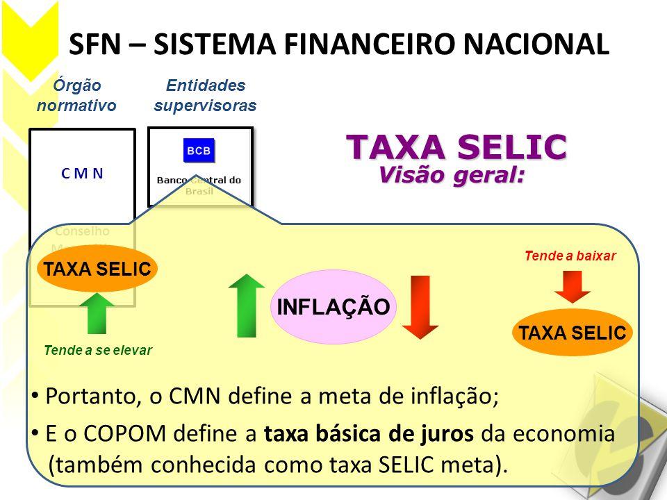 SFN – SISTEMA FINANCEIRO NACIONAL Órgão normativo Entidades supervisoras C M N Conselho Monetário Nacional TAXA SELIC Visão geral: TAXA SELIC Visão ge