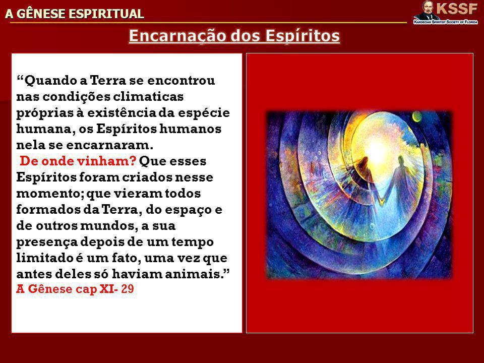 Quando a Terra se encontrou nas condições climaticas próprias à existência da espécie humana, os Espíritos humanos nela se encarnaram.