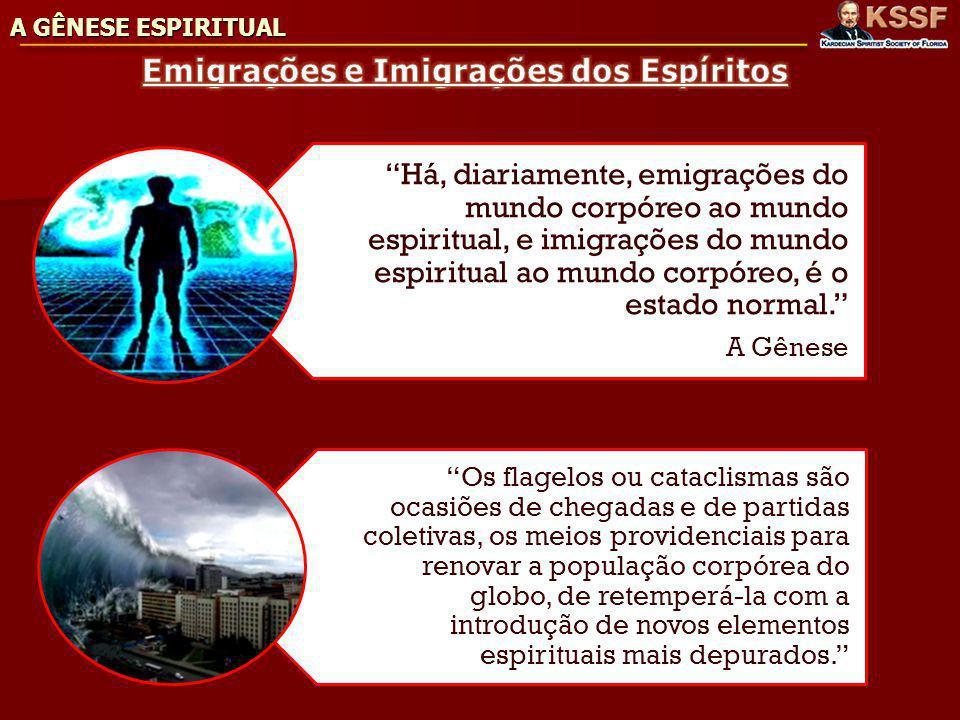 A GÊNESE ESPIRITUAL Há, diariamente, emigrações do mundo corpóreo ao mundo espiritual, e imigrações do mundo espiritual ao mundo corpóreo, é o estado normal.