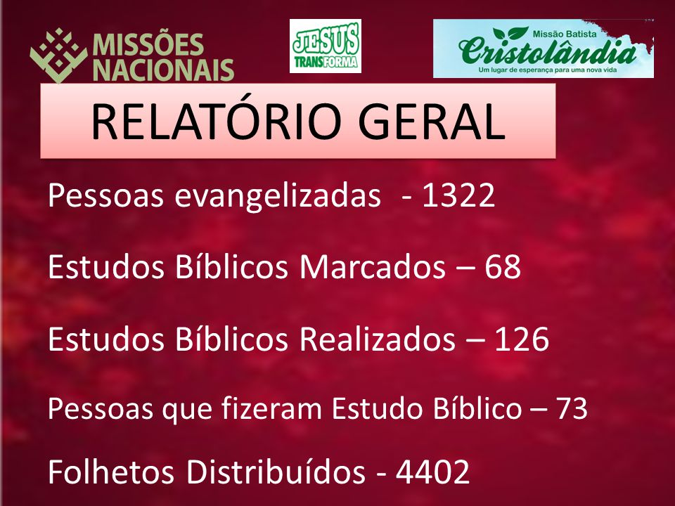 RELATÓRIO GERAL Pessoas evangelizadas - 1322 Estudos Bíblicos Marcados – 68 Estudos Bíblicos Realizados – 126 Pessoas que fizeram Estudo Bíblico – 73 Folhetos Distribuídos - 4402