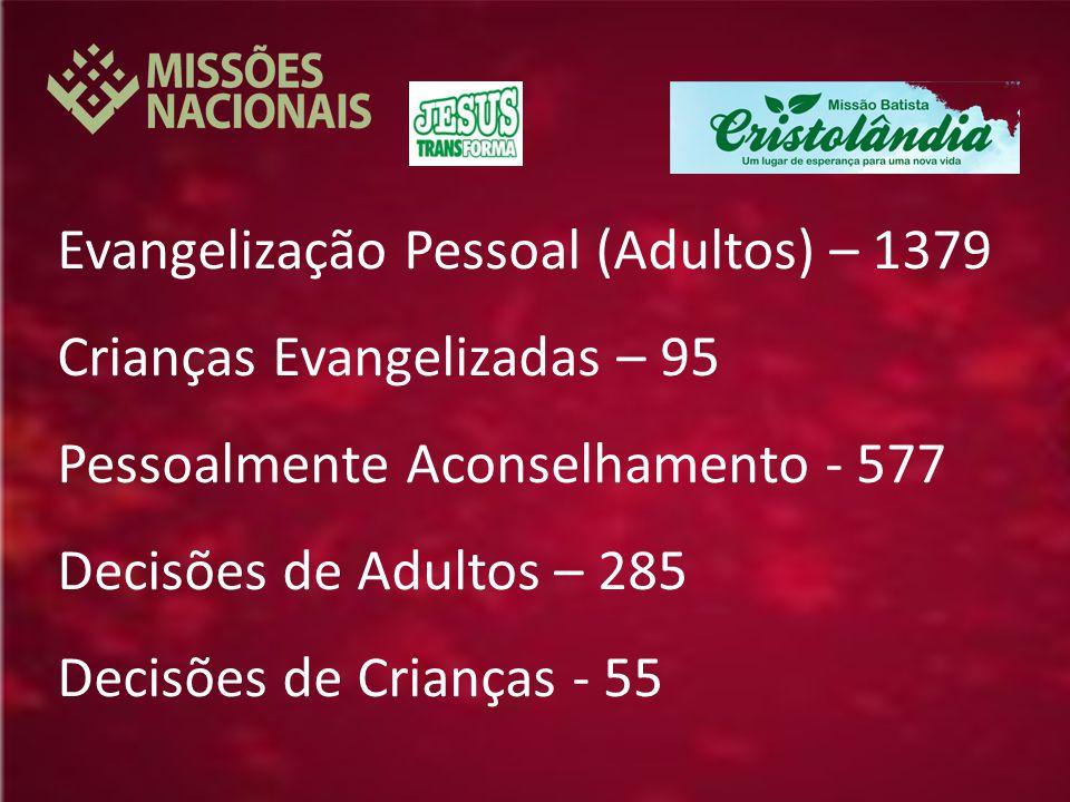 Evangelização Pessoal (Adultos) – 1379 Crianças Evangelizadas – 95 Pessoalmente Aconselhamento - 577 Decisões de Adultos – 285 Decisões de Crianças - 55