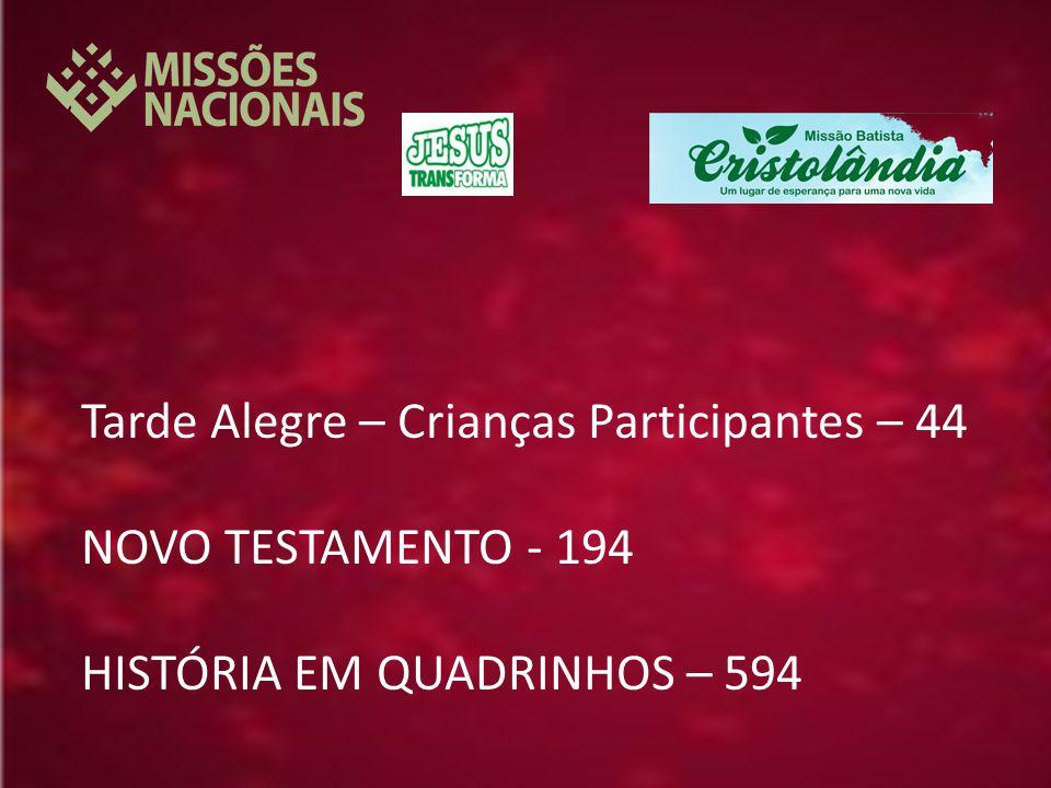 Tarde Alegre – Crianças Participantes – 44 NOVO TESTAMENTO - 194 HISTÓRIA EM QUADRINHOS – 594