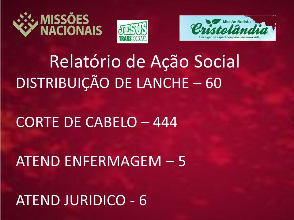 Relatório de Ação Social DISTRIBUIÇÃO DE LANCHE – 60 CORTE DE CABELO – 444 ATEND ENFERMAGEM – 5 ATEND JURIDICO - 6