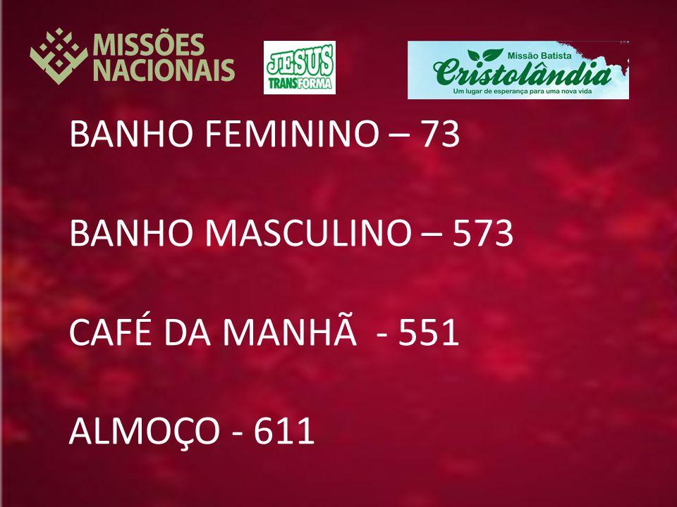 BANHO FEMININO – 73 BANHO MASCULINO – 573 CAFÉ DA MANHÃ - 551 ALMOÇO - 611