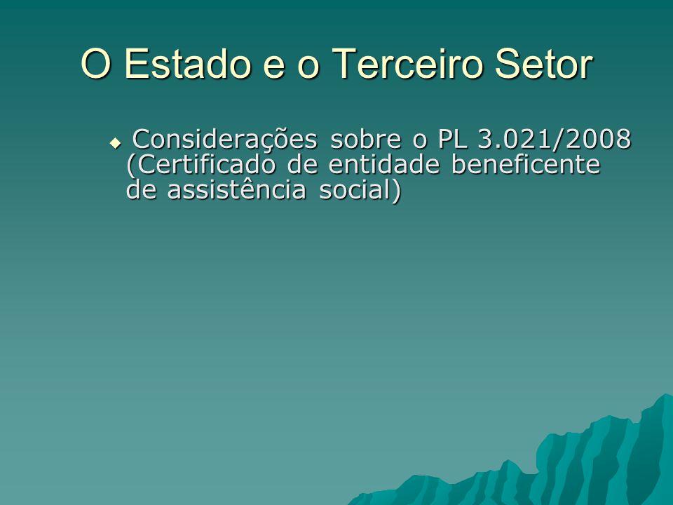 O Estado e o Terceiro Setor Considerações sobre o PL 3.021/2008 (Certificado de entidade beneficente de assistência social) Considerações sobre o PL 3.021/2008 (Certificado de entidade beneficente de assistência social)