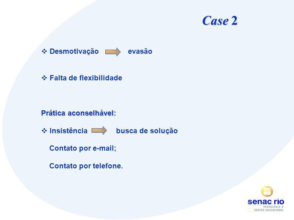 Case 2 Desmotivação evasão Falta de flexibilidade Prática aconselhável: Insistência busca de solução Contato por e-mail; Contato por telefone.