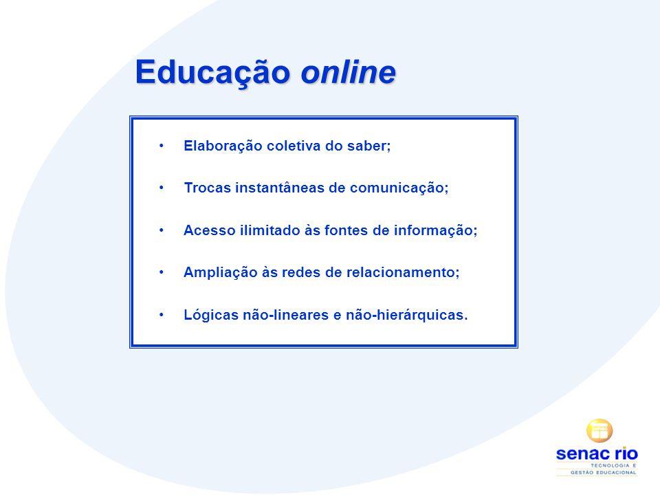 Educação online Elaboração coletiva do saber; Trocas instantâneas de comunicação; Acesso ilimitado às fontes de informação; Ampliação às redes de relacionamento; Lógicas não-lineares e não-hierárquicas.