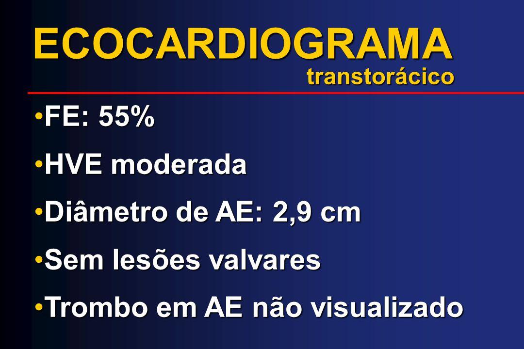 ECOCARDIOGRAMA FE: 55%FE: 55% HVE moderadaHVE moderada Diâmetro de AE: 2,9 cmDiâmetro de AE: 2,9 cm Sem lesões valvaresSem lesões valvares Trombo em A