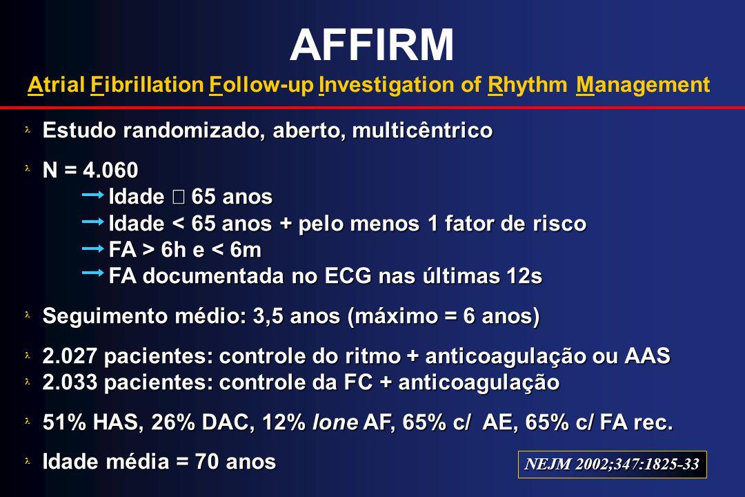 AFFIRM Atrial Fibrillation Follow-up Investigation of Rhythm Management Estudo randomizado, aberto, multicêntrico N = 4.060 Idade 65 anos Idade 6h e 6