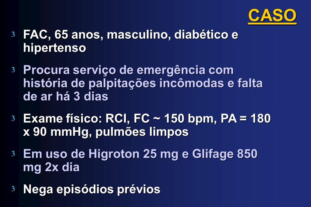 FAC, 65 anos, masculino, diabético e hipertenso Procura serviço de emergência com história de palpitações incômodas e falta de ar há 3 dias Exame físi