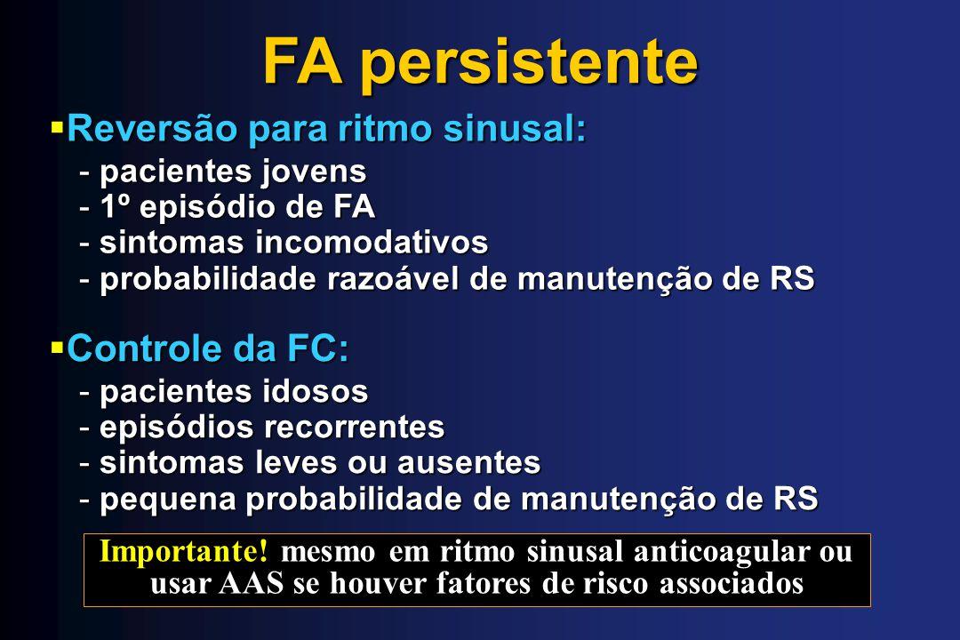 Controle da FC: Controle da FC: FA persistente - pacientes idosos - episódios recorrentes - sintomas leves ou ausentes - pequena probabilidade de manu