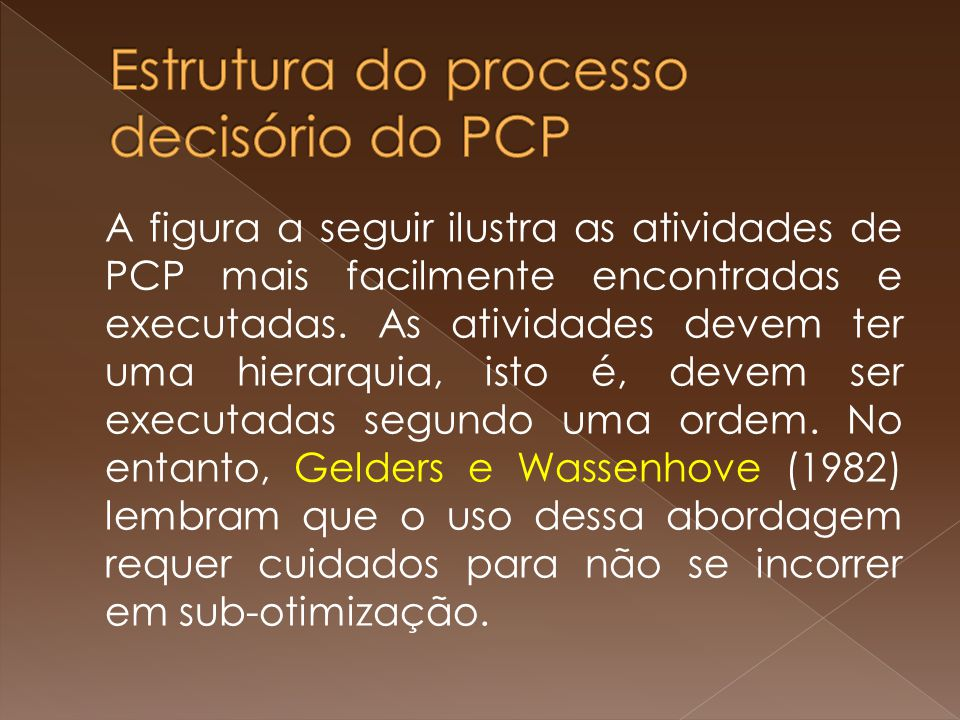 A figura a seguir ilustra as atividades de PCP mais facilmente encontradas e executadas. As atividades devem ter uma hierarquia, isto é, devem ser exe