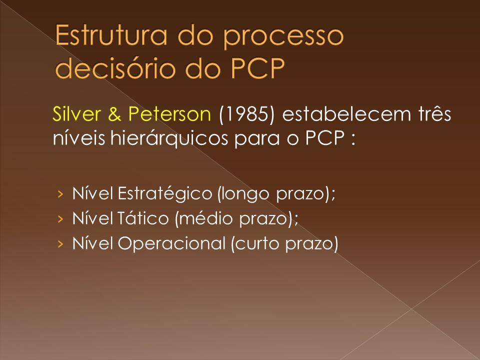Silver & Peterson (1985) estabelecem três níveis hierárquicos para o PCP : Nível Estratégico (longo prazo); Nível Tático (médio prazo); Nível Operacio