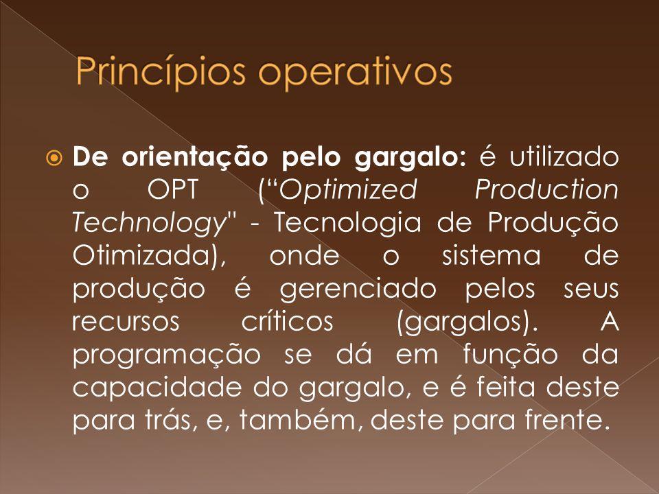 De orientação pelo gargalo: é utilizado o OPT (Optimized Production Technology