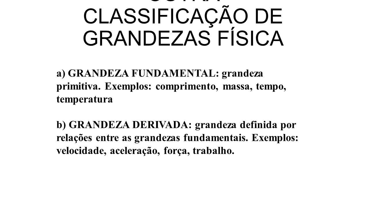 OUTRA CLASSIFICAÇÃO DE GRANDEZAS FÍSICA a) GRANDEZA FUNDAMENTAL: grandeza primitiva. Exemplos: comprimento, massa, tempo, temperatura b) GRANDEZA DERI