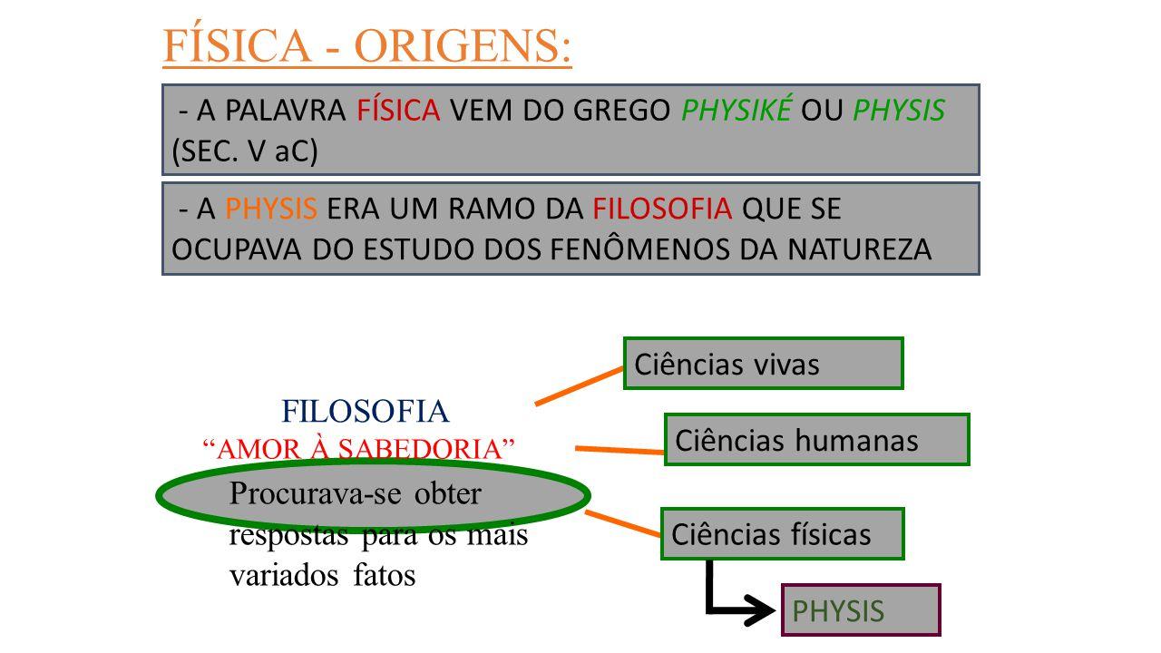 ALGUMAS DIVISÕES PEDAGÓGICAS DA FÍSICA: FÍSICA - MECÂNICA - TERMOLOGIA - ÓPTICA - ONDULATÓRIA - ELETRICIDADE (movimentos) (calor) (luz) (ondas) (energia elétrica) - CINEMÁTICA (efeitos) - DINÂMICA (causas) - ESTÁTICA (equilíbrio)