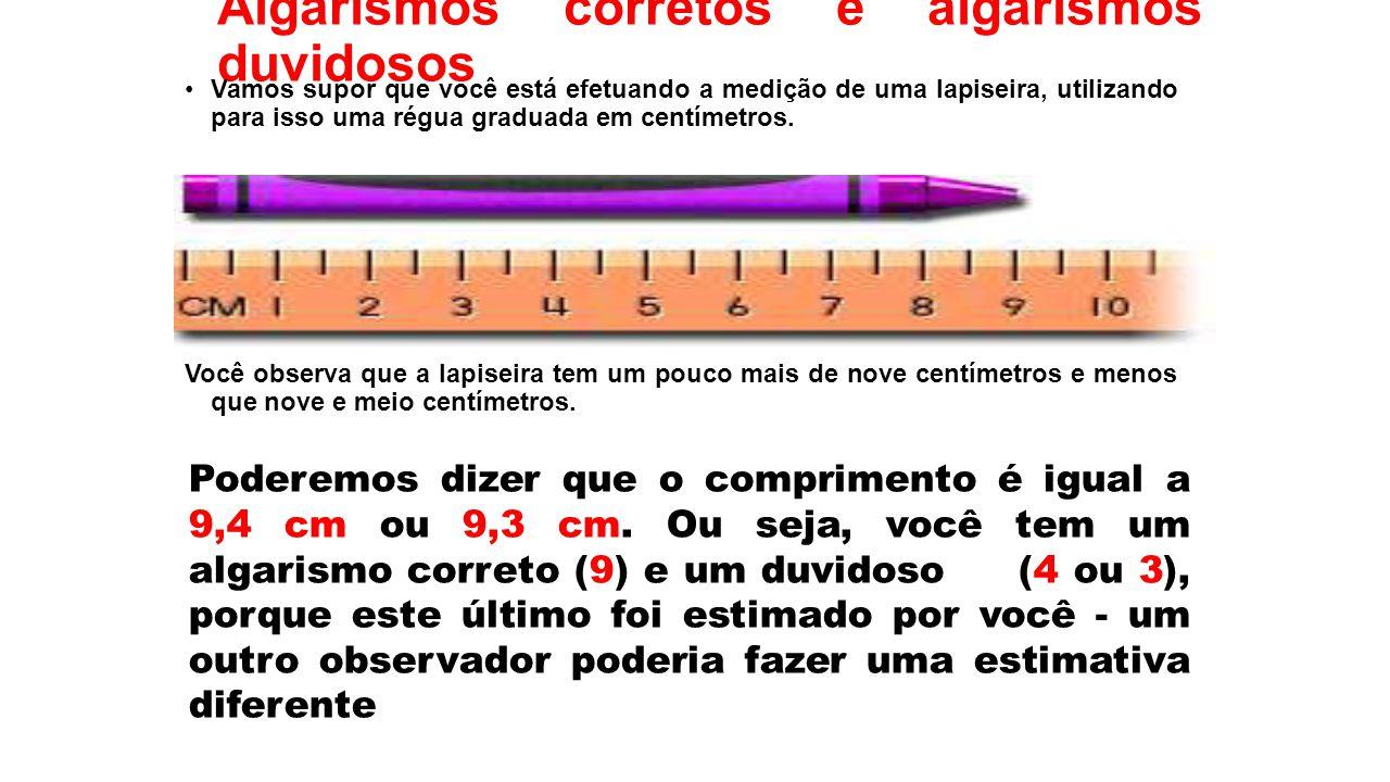 Algarismos corretos e algarismos duvidosos Vamos supor que você está efetuando a medição de uma lapiseira, utilizando para isso uma régua graduada em