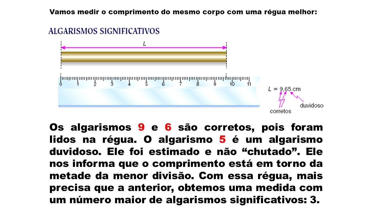 Vamos medir o comprimento do mesmo corpo com uma régua melhor: Os algarismos 9 e 6 são corretos, pois foram lidos na régua. O algarismo 5 é um algaris