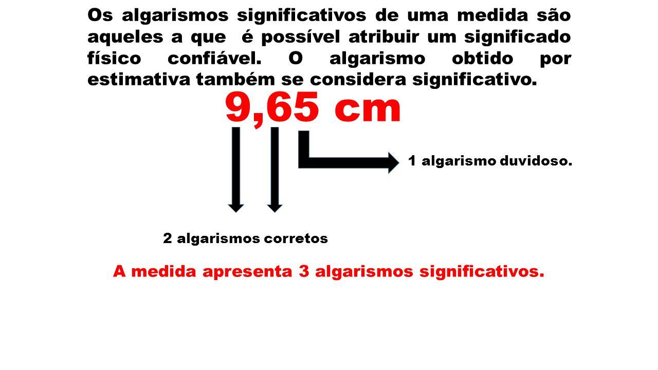 Os algarismos significativos de uma medida são aqueles a que é possível atribuir um significado físico confiável. O algarismo obtido por estimativa ta