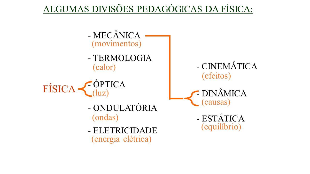 ALGUMAS DIVISÕES PEDAGÓGICAS DA FÍSICA: FÍSICA - MECÂNICA - TERMOLOGIA - ÓPTICA - ONDULATÓRIA - ELETRICIDADE (movimentos) (calor) (luz) (ondas) (energ