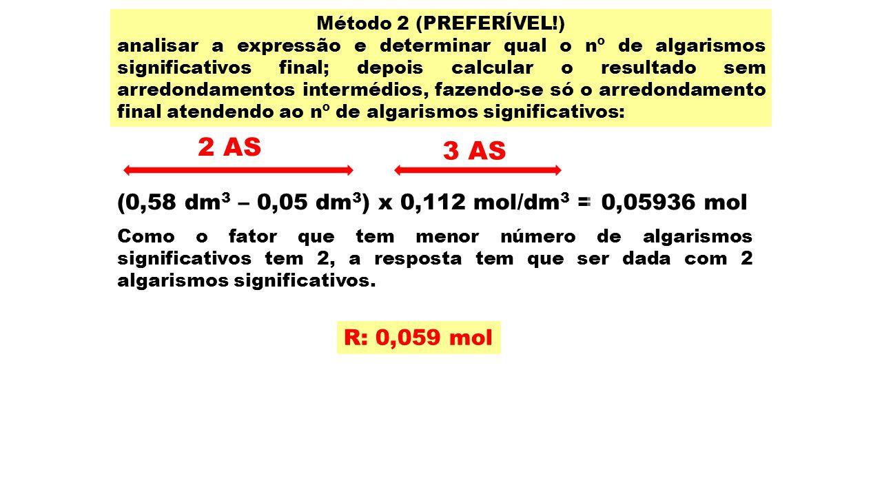 Método 2 (PREFERÍVEL!) analisar a expressão e determinar qual o nº de algarismos significativos final; depois calcular o resultado sem arredondamentos
