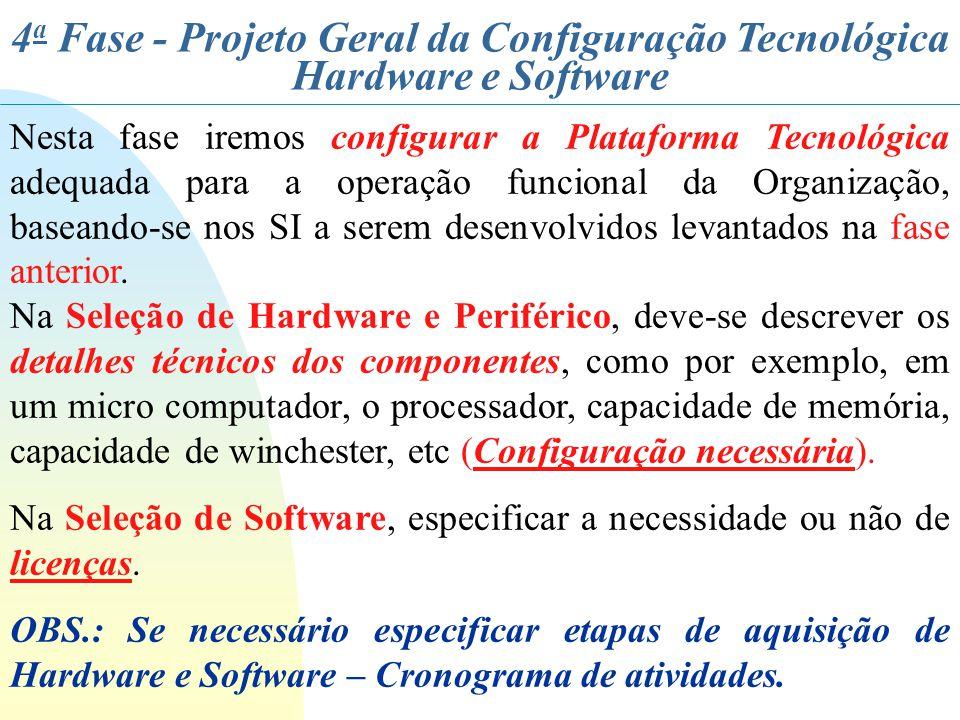 4 a Fase - Projeto Geral da Configuração Tecnológica Hardware e Software Nesta fase iremos configurar a Plataforma Tecnológica adequada para a operaçã