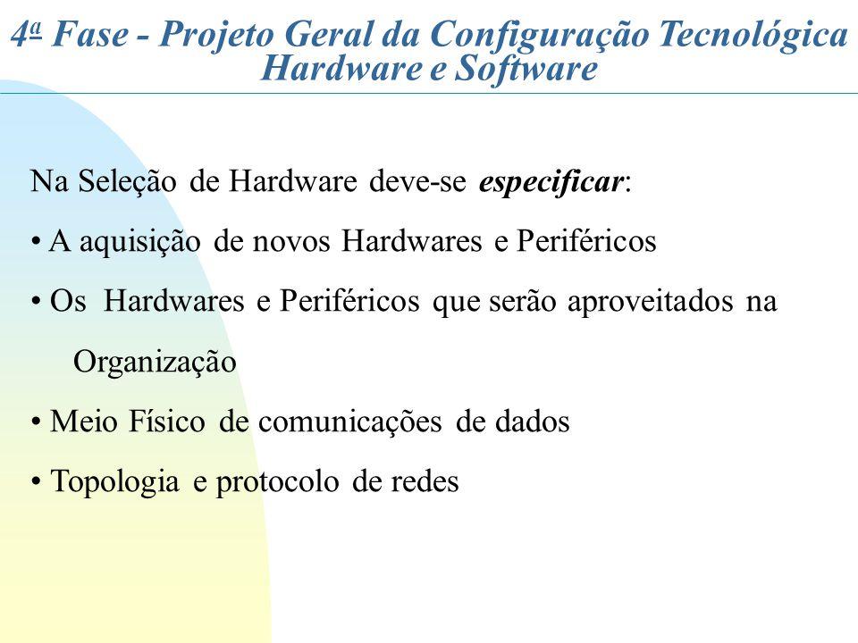 4 a Fase - Projeto Geral da Configuração Tecnológica Hardware e Software Na Seleção de Hardware deve-se especificar: A aquisição de novos Hardwares e