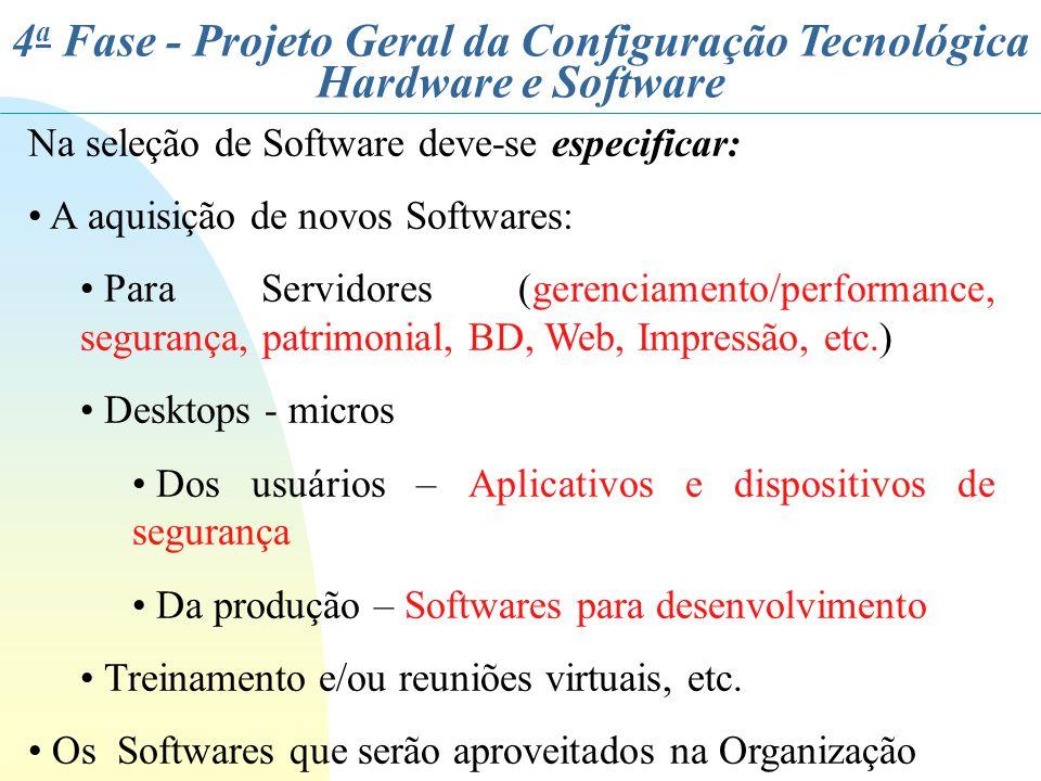 4 a Fase - Projeto Geral da Configuração Tecnológica Hardware e Software Na seleção de Software deve-se especificar: A aquisição de novos Softwares: P